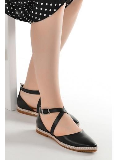 Ayakland 17736 Cilt Günlük Anatomik Kadın Babet Ayakkabı Siyah